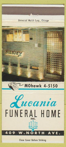 Matchbook Cover - Lucania Funeral Home Chicago? 30 Strike