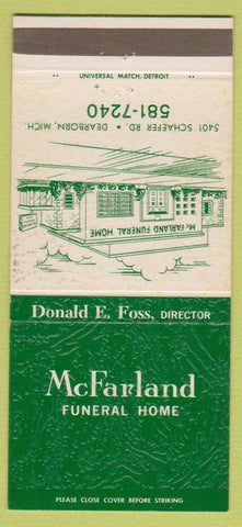 Matchbook Cover - McFarland Funeral Home Dearborn MI 30 Strike