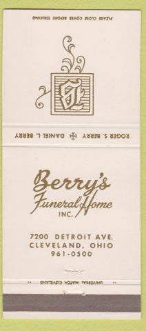 Matchbook Cover - Berry's Funeral Home Cleveland OH white gold letters 30 Strike