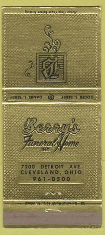 Matchbook Cover - Berry's Funeral Home Cleveland OH gold 30 Strike