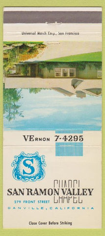 Matchbook Cover - San Ramon Valley Funeral Home Danville CA 30 Strike