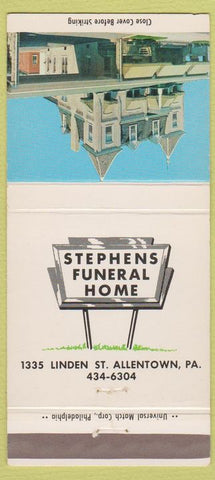 Matchbook Cover - Stephens Funeral Home Allentown PA 30 Strike
