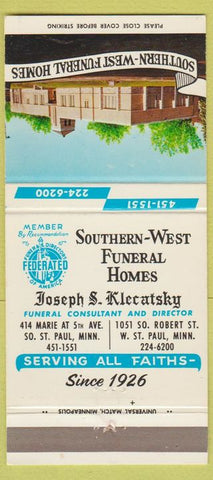 Matchbook Cover - Southern West Funeral Home St Paul MN 30 Strike