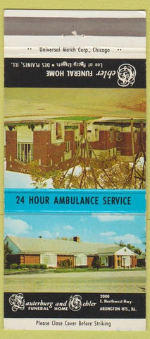 Matchbook Cover - Oehler Funeral Home Des Plaines IL 30 Strike