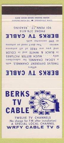 Matchbook Cover - Berks TV Cable Channel 5 Reading PA 30 Strike