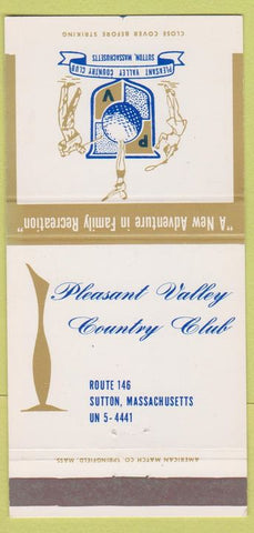 Matchbook Cover - Pleasant Valley Country Club Sutton MA 30 Strike