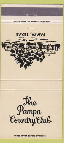 Matchbook Cover - Pampa TX Country Club 30 Strike