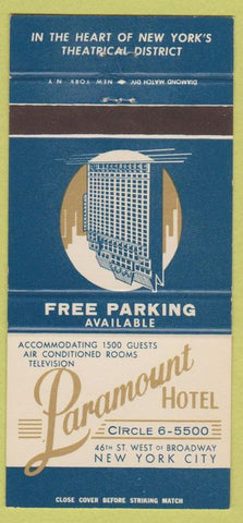 Matchbook Cover - Paramount Hotel New York City 30 Strike