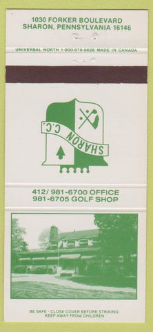 Matchbook Cover - Sharon PA Country Club 30 Strike