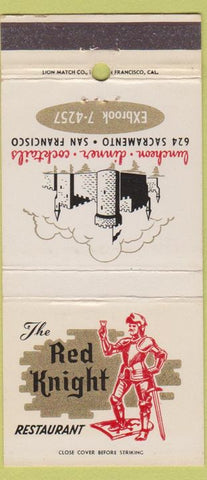 Matchbook Cover - Red Knight Restaurant San Francisco CA 30 Strike