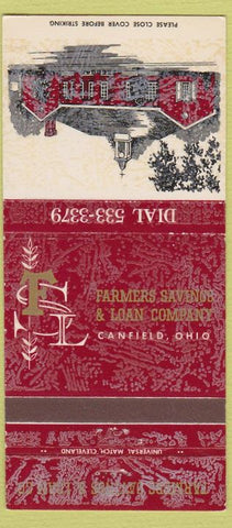 Matchbook Cover - Farmers Savings Loan Canfield OH 30 Strike
