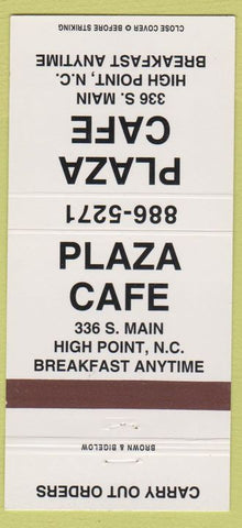 Matchbook Cover - Plaza Cafe High Point NC 30 Strike
