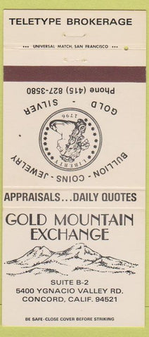 Matchbook Cover - Gold Mountain Exchange Coins Concord CA 30 Strike