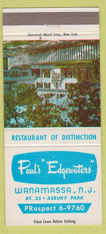 Matchbook Cover - Paul's Edgewaters Wanamassa NJ Asbury Park 30 Strike