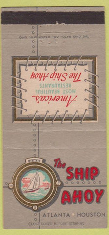 Matchbook Cover - Ship Ahoy Atlanta GA Houston TX 30 Strike