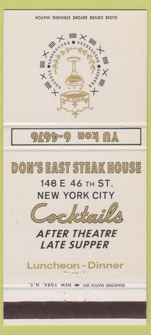 Matchbook Cover - Don's East Steak House New York City 30 Strike