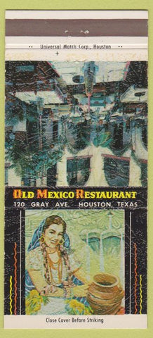 Matchbook Cover - Old Mexican Restaurant Houston TX girlie 30 Strike