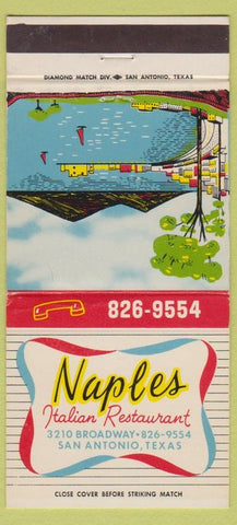 Matchbook Cover - Naples Italian Restaurant San Antonio TX 30 Strike