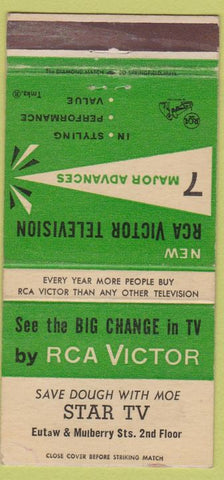 Matchbook Cover - RCA Victor TV Baltimore MD WEAR 30 Strike