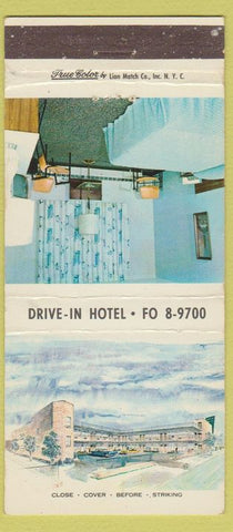 Matchbook Cover - Drive In Hotel New York City Lion True Color 30 Strike