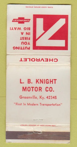 Matchbook Cover - 1971 Chevrolet LB Knight Greenville KY WORN 30 Strike