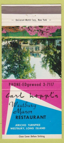 Matchbook Cover - Carl Hoppl's Westbury Manor Westbury LI NY 30 Strike