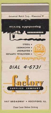 Matchbook Cover - Factory Supply Co Rockford IL 30 Strike