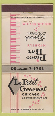 Matchbook Cover - Le Petit French Restaurant Chicago IL 30 Strike