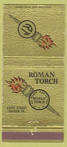 Matchbook Cover - Roman Torch Sharon PA 30 Strike