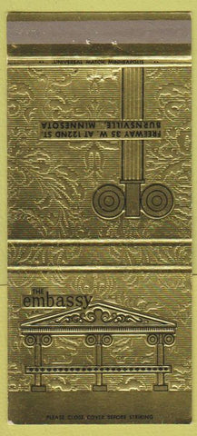 Matchbook Cover - The Embassy Burnsville MN 30 Strike