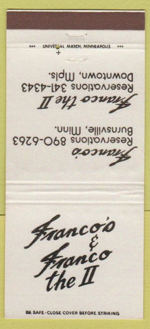 Matchbook Cover - Franco's Burnsville Minneapolis MN WEAR 30 Strike