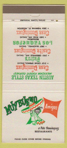Matchbook Cover - Muy Bueno Mexican Restaurant Houston Dallas TX 30 Strike