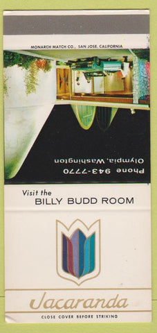Matchbook Cover - Jacaranda Olympic WA Billy Budd Room SAMPLE 30 Strike