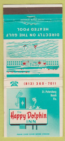 Matchbook Cover - Hapy Dolphin Inn ST Petersburg Beach FL 30 Strike