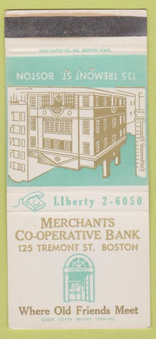 Matchbook Cover - Merchants Co Op Bank Boston MA 30 Strike