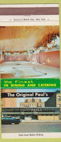 Matchbook Cover - Paul's Restaurant Catering Brooklyn NY 30 Strike