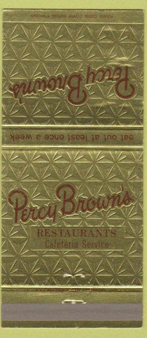 Matchbook Cover - Percy Brown's Restaurant Wilkes Barre PA 30 Strike