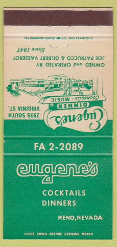Matchbook Cover - Eugene's Reno NV DREstaurant 30 Strike