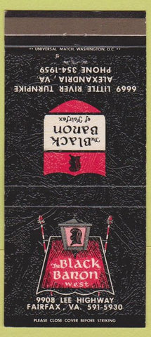 Matchbook Cover - The Black Banon Alexandria VA 30 Strike