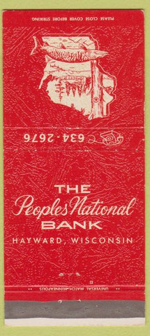 Matchbook Cover - Peoples National Bank Hayward WI 30 Strike