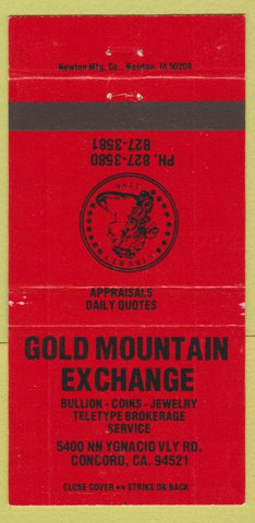 Matchbook Cover - Gold Mountain Exchange coins Concord CA red 30 Strike