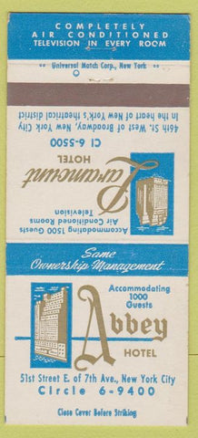 Matchbook Cover - Abbot Hotel Paramount Hotel New York City 30 Strike