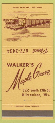 Matchbook Cover - Walker's Maple Grove Milwaukee WI 30 Strike