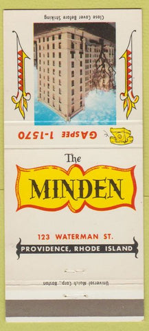 Matchbook Cover - The Minden Providence RI hotel 30 Strike