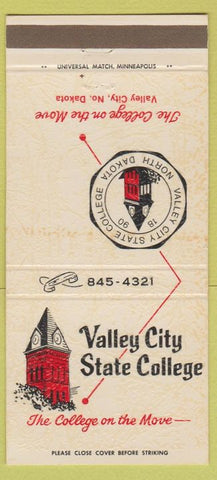 Matchbook Cover - Valley City State College Valley City ND 30 Strike