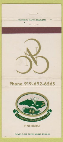 Matchbook Cover - Monterey Club of North Carolina Pinehurst 30 Strike