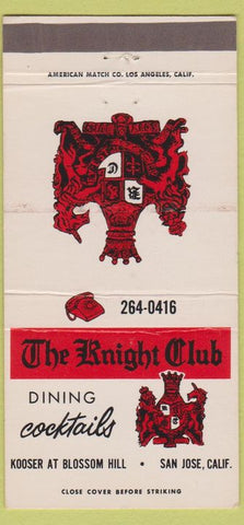 Matchbook Cover - Knight Club Restaurant San Jose CA 30 Strike