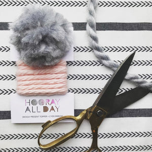 Wooly Ribbon Gift Topper Blush and Grey