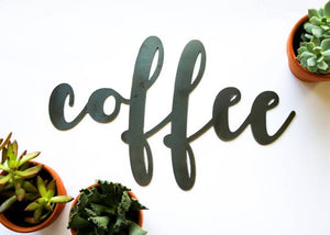 coffee metal handlettering sign