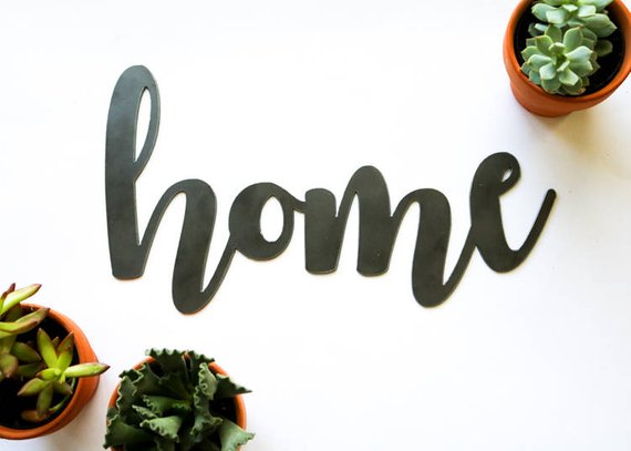 home metal word sign